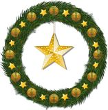 Christmas wreath and gold star Royalty Free Stock Photography