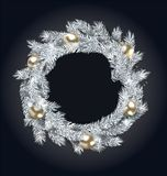Christmas Wreath with Golden Balls. New Year and Christmas Decoration, on Dark Background - Illustration Vector Royalty Free Stock Photo