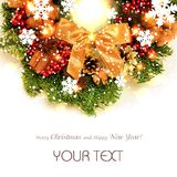 Christmas wreath with Golden bow isolated Royalty Free Stock Photography