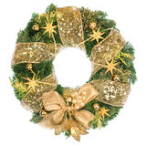 Christmas wreath with golden decorations on white background Royalty Free Stock Image