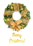 Christmas wreath with golden decorations on white background Stock Photography