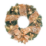 Christmas wreath with golden decorations on white background Stock Images