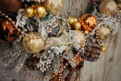 Christmas wreath with golden decorations Stock Image