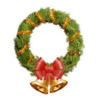 Christmas wreath with golden gerland, red bow and bells Royalty Free Stock Image