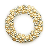 Christmas wreath. Golden glass ball ornaments Stock Photo