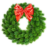Christmas wreath with golden ribbon bow Royalty Free Stock Image