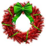 Christmas wreath with green bow and ribbon. Decorated wreath of red pine branches  on white. Vector image for new years day, christmas, winter holiday Stock Image