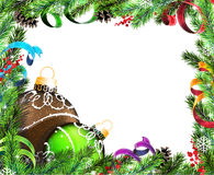 Christmas wreath with green and brown baubles Stock Photo