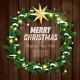 Christmas Wreath with Green Fir Branch, Light Garland  Stock Images