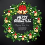 Christmas Wreath with Green Fir Branch, Light Garland and Golden. Bells on Black Background. Vector Illustration Royalty Free Stock Photos