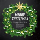 Christmas Wreath with Green Fir Branch, Light Garland and Golden Royalty Free Stock Photography