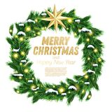 Christmas Wreath with Green Fir Branch, Light Garland and Golden Stock Images