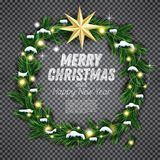 Christmas Wreath with Green Fir Branch, Light Garland and Golden Royalty Free Stock Photos
