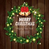Christmas Wreath with Green Fir Branch, Light Garland, Red Bow a. Nd Golden Bells on Wooden Background. Vector Illustration Stock Image