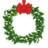 Christmas Wreath with Green Fir Branch and Red Bow Isolated on W. Hite Background. Vector Illustration Royalty Free Stock Photos