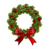 Christmas wreath. Green fir branches with red balls and bow on a white background. Christmas decorations. illustration. Christmas wreath. Green fir branches with Royalty Free Stock Images