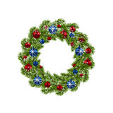 Christmas wreath. Green fir branches with red and blue balls on white background. Christmas decorations. illustration. Christmas wreath. Green fir branches with Royalty Free Stock Image