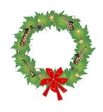 Christmas Wreath of Green Maple Leaves and Red Bow Royalty Free Stock Photos