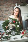 Christmas Wreath with Green Xmas Tree Twig Stock Photography