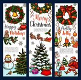 Christmas wreath greeting banner for Xmas holidays. Christmas wreath greeting banner for Xmas and New Year holidays. Christmas tree and holly berry wreath with Royalty Free Stock Photography