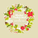 Christmas wreath greeting card Royalty Free Stock Photos