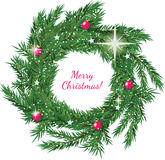 Christmas wreath with greeting Stock Images