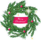 Christmas wreath with greeting Royalty Free Stock Image