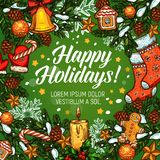 Christmas wreath greeting poster for Xmas design Royalty Free Stock Photography