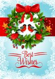 Christmas wreath greeting card of New Year holiday Royalty Free Stock Images