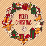 Christmas wreath with greetings Royalty Free Stock Image
