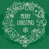 Christmas wreath with greetings Stock Photo