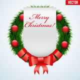 Christmas wreath greetings Stock Images