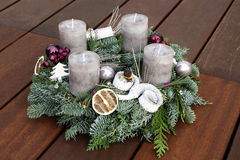 Christmas wreath with grey candles Stock Photography