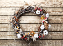 Christmas wreath. On grey wooden table Stock Photography