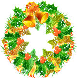 Christmas wreath with hand bells Stock Image