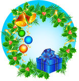 Christmas wreath with hand bells, Christmas-tree d. Vector composition with hand bells, Christmas-tree decorations and a gift Stock Photography