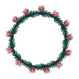 Christmas wreath hand drawn fir tree branches. Xmas greeting card vector illustration vector illustration