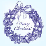 Christmas wreath hand drawn vector llustration Royalty Free Stock Photos