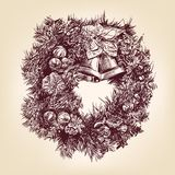 Christmas wreath hand drawn vintage Stock Photo