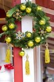 Christmas wreath. Handle on christmas trade wooden shop Stock Photos
