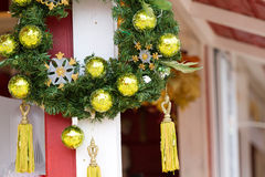 Christmas wreath. Handle on christmas trade wooden shop Royalty Free Stock Images