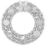 Christmas wreath with hanging ornaments. Coloring page with Christmas wreath, holiday ornaments, jingle bells and christmas balls. Freehand sketch drawing for Stock Image