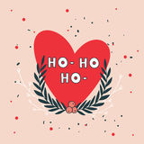 Christmas wreath and heart greeting card design template Royalty Free Stock Images
