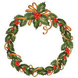 Christmas  wreath of holly Royalty Free Stock Photos