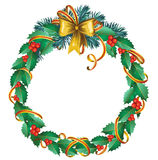 Christmas  wreath of holly Royalty Free Stock Image