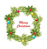 Christmas Wreath with Holly Berries. Illustration Christmas Wreath with Holly Berries and Colorful Balls Isolated on White Background - Vector Royalty Free Stock Images