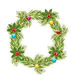 Christmas Wreath with Holly Berries Royalty Free Stock Photos