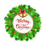 Christmas  wreath with holly berry and Christmas decoration Royalty Free Stock Photos
