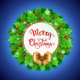 Christmas  wreath with holly berry and Christmas decoration Stock Images