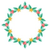Christmas wreath with holly berry Royalty Free Stock Photos